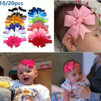 20PC/Set Girl Newborn Baby Toddler Infant Kid Flower Headband Hair Bow Band Bulk