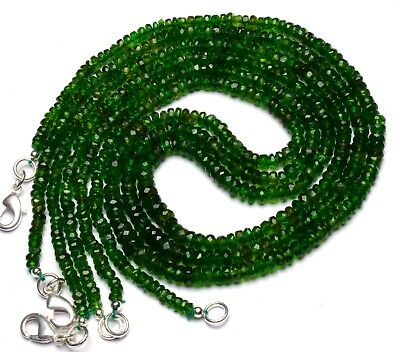 """Super Fine Quality Chrome Diopside Faceted 3 to 5MM Rondelle Beads Necklace 16"""""""