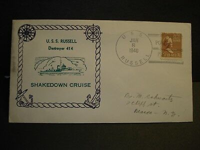 USS RUSSELL DD-414 Naval Cover 1940 SHAKEDOWN CRUISE Cachet PONCE, PR