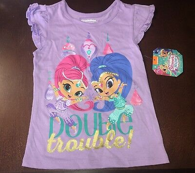 Shimmer and Shine Toddler Girl Purple Double Trouble Shirt Top New 5T