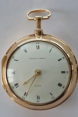 Rare Antique Solid Gold Quarter Repeater Pair Case Verge Fusee Pocket Watch