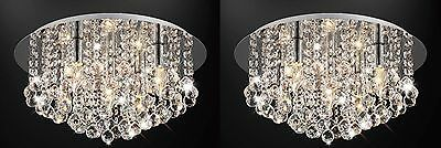 2x Genuine Glass Crystal Droplet Chandelier Pendant Flush Ceiling Light Fittings
