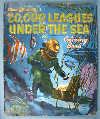 1954 20,000 LEAGUES Under the Sea Oversized Coloring Book W Disney ...
