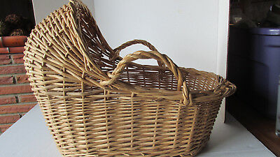 """Natural Wicker Baby Moses Canopy Basket with Handles ~ Large 18""""L x 12""""W x 15""""H"""
