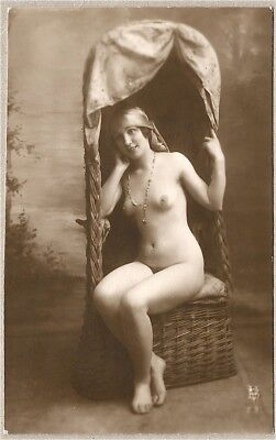 Nude French RPPC Real Photo Postcard Lovely Model Sits Canopy Chair Viaux 1910s