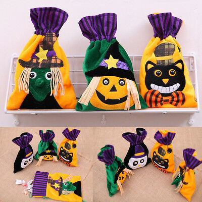 Cute Halloween Pumpkin Sugar Bag Creative Witch Flannelette Drawstring Gift Bag