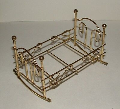 Vintage Miniature Dollhouse Furniture  BRASS BED or BRASS DOLL CRADLE