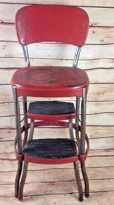 Vintage cosco step stool chair RED MCM Diner Style Kitchen Helper
