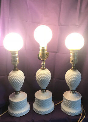 Very Nice TRIO Milk Glass Lamps mid-century Nearly Flawless Hobnail 2 piece LOOK
