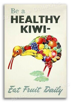 """""""Be A Healthy Kiwi - Eat Fruit Daily"""" 1950s Vintage Style Food Poster - 16x24"""