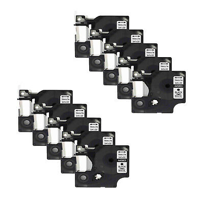 10PK Black on White Label Tape 19mm Compatible for DYMO D1 45803 3/4''x23ft