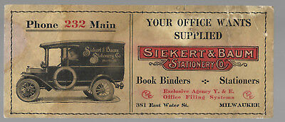 Early 1900's Siekert & Baum Stationary Advertisement Ink Blotter.....Ford Truck