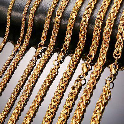 DIY Man Necklace Chain Wheat Twist Link Stainless Steel 24 inch Gold Plate Gift