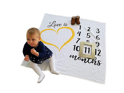 baby milestone blanket for monthly boy or girl photo prop unique babyshower gift
