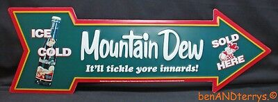 Mountain Dew Sold Here Embossed Tin Advertising Arrow Shaped Sign