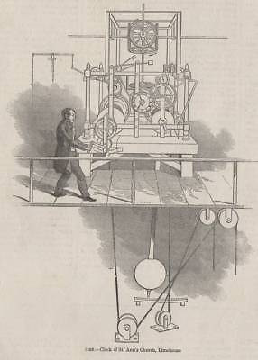 Antique 1845 Print Clock Making Horology Time Tower Mechanical Chime Cog Watch