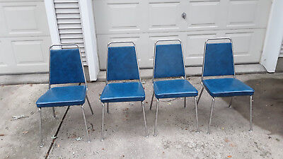 Vintage Chrome Kitchen Chairs with blue upholstery