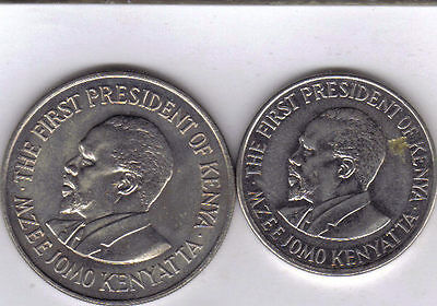 2 DIFFERENT 1 SHILLING COINS from KENYA - 2 TYPES (1973 & 2005)