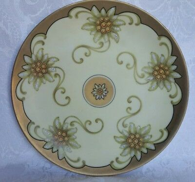 Antique J&c Germany Hand Painted Plate Art Deco Heavy Gold And Flowers