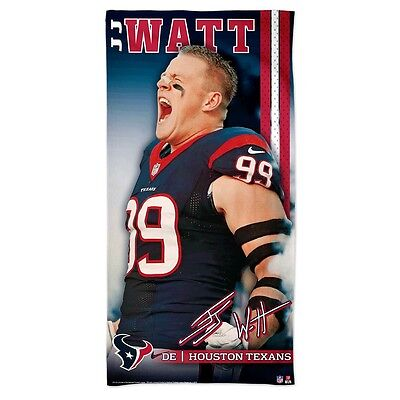 "J.j. Watt #99 Houston Texans 30""x60"" Spectra Beach Towel New Wincraft"