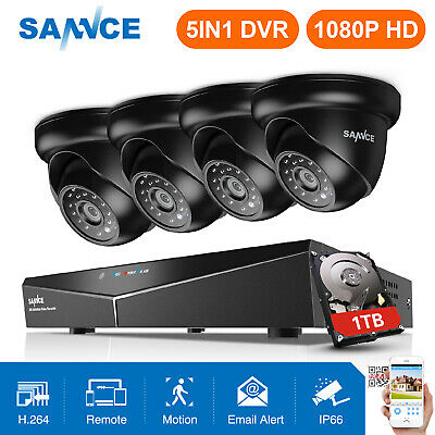 SANNCE 8CH 1080N CCTV DVR 720P HD In/Outdoor Security Camera System 0-1TB APP
