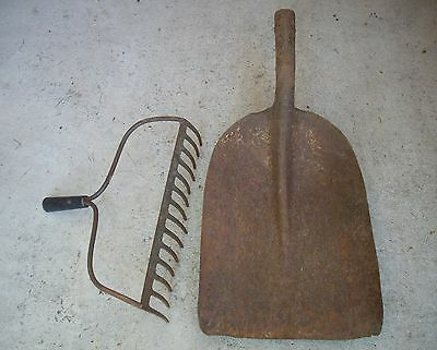 Antique Vtg Rustic Shovel & Rake Head Set Farm Primitive, Old Garden, Camp Tools