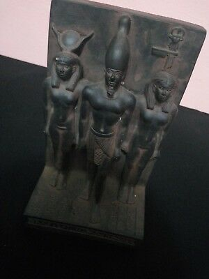 RARE ANCIENT EGYPTIAN STATUE stone black Osiris and Nephthys and Isis 1375 Bc