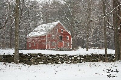 New England Winter Red Barn Professional Photograph Photo Picture Print Canvas