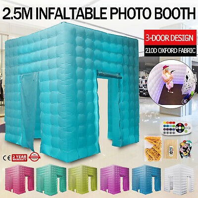 3 Doors Inflatable LED Air Pump Photo Booth Tent Colorful Thick Oxford Fabric