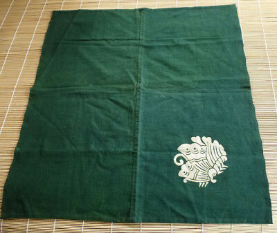 Vintage Japanese Indigo Green Furoshiki, Carrying Cloth, Butterfly