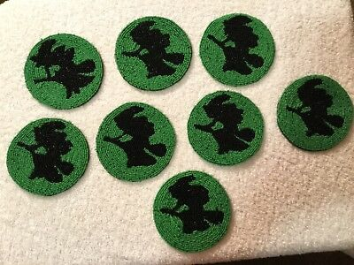 WOW! Vintage Style Department 56 Beaded Coasters Set 8 GREEN Witch Halloween