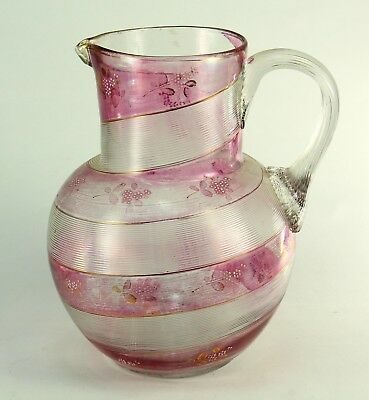 ! Antique 1800's Swirled Clear & Cranberry Stained Hand Blown Glass Pitcher Jug