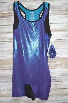 Danskin Now Youth Girls Size 7-8 14-16 Dance Outfit Color Block Black Blue New