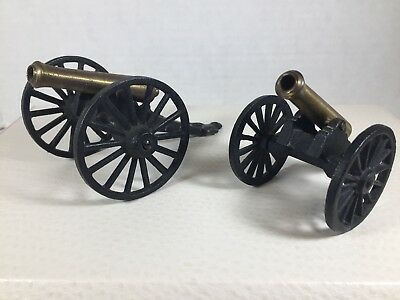 Vtg Cast Iron And Brass Cannons Lot Of 2! C 1/2 & 1/1 Mf Co