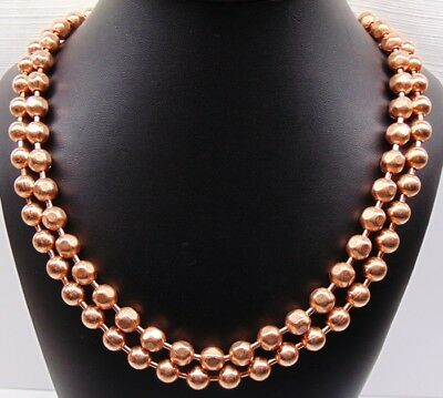 100% COPPER BALL CHAIN Necklaces 9.5mm Round + Faceted Bead ~ Various Lengths