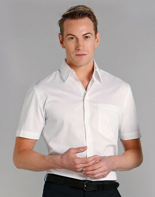 Benchmark Mens Fine Twill Short Sleeve Office Shirt Single Cuff Classic Collar