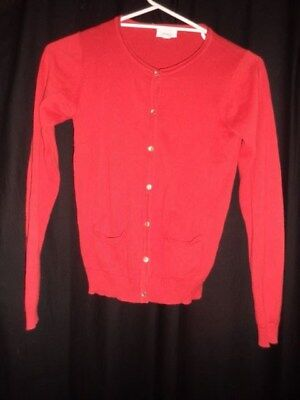 ladies  girls  cardigan  PUMPKIN PATCH SIZE 12 RED W POCKETS  cotton