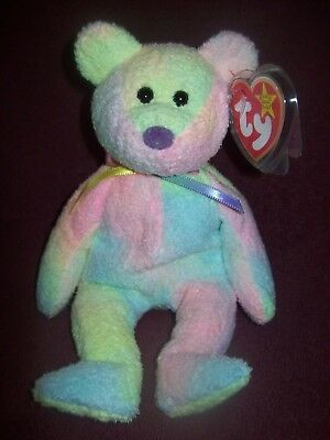 Ty Beanie Babies GROOVY Bear - 1999 - Excellent / Mint Condition - 8 Inches Tall