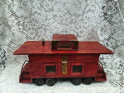 Unique Rare Hand Made Antique Vintage Wooden Train Trinket Jewelry Toy Box.