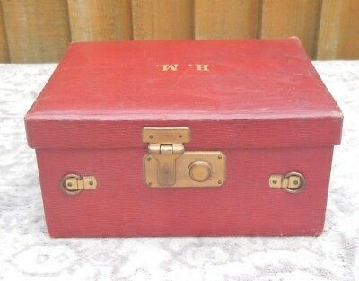 Antique Edwardian Red Moroccan Leather Small Fitted Travel Vanity Case+Contents