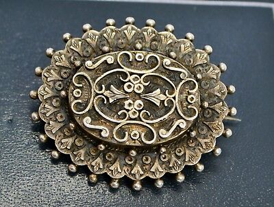 Antique Solid SILVER Ornate Victorian Beaded Edge Mourning BROOCH - Locket Back