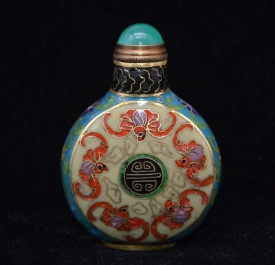 China Art Old Brass Cloisonne Handmade painting Flower bats Statue Snuff Bottle