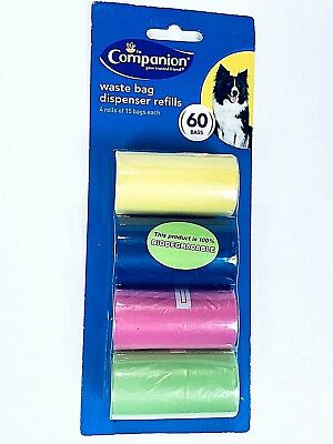 4 Rolls Waste Dispenser Refill Bags Dog Poop Pet Roll Refill  Companion New