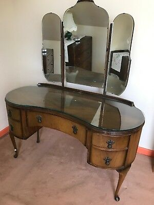 Butilux Mahogany Curves Dressing Table 1950s Antique Triple Mirrors