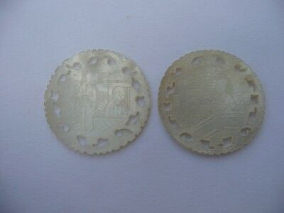 2 Antique Chinese Carved & Pierced Mother Of Pearl Gaming Counters Chips Tokens