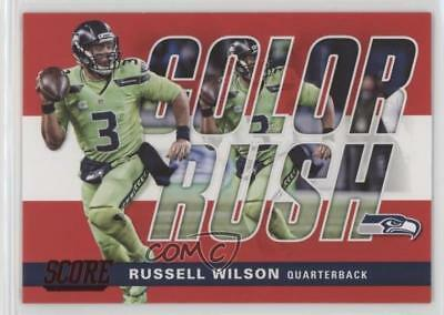 2017 Score Color Rush Red  16 Russell Wilson Seattle Seahawks Football Card 92182b0f0