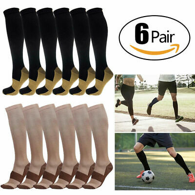 Copper Compression Support Socks 20-30mmHg Graduated Men's Women's 6 Pairs S-XXL