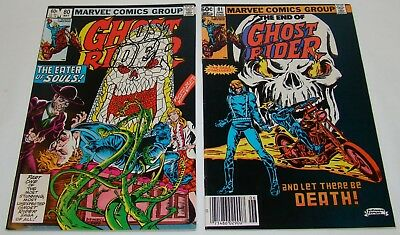 GHOST RIDER #80 and #81 ~ VF/VF+ ~ LAST ISSUES MARVEL COMICS ~ NICE COPIES