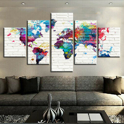 Framed Home Decor Retro World Maps Canvas Prints Painting Wall Art Poster 5PCS
