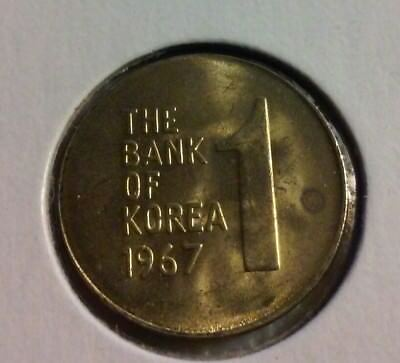 1967 SOUTH KOREA 1 WON COIN-   Very Sharp Details (#IN881)